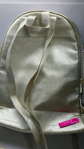 bolso dorado impermeable avon con obsequio