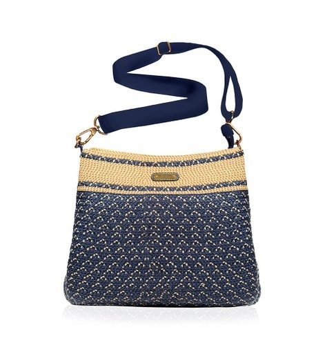 bolso eric javits escape pouch  navy mix ifs femenino