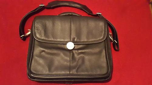 bolso maletín portanotebook de cuero marca dell original