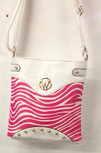 bolso manos libres lesak carriel cebra- blanco con rosado