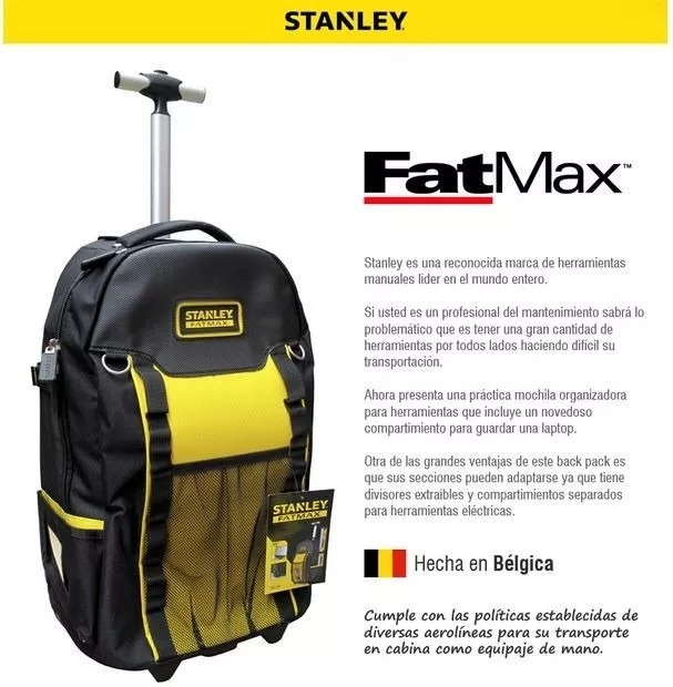 Bolso Mochila Stanley Fatmax Porta Herramientas Con Ruedas ... 1e9732ed76f1