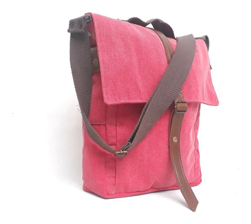 bolso morral de loneta y cuero vacuno genuino ideal a4