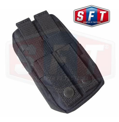 bolso multiuso chico con porta celular molle negro de s f t®