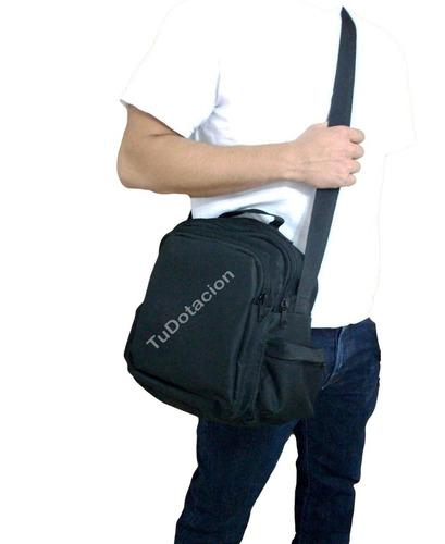 bolso negro cruzado / morral unicolor 4 compartimientos