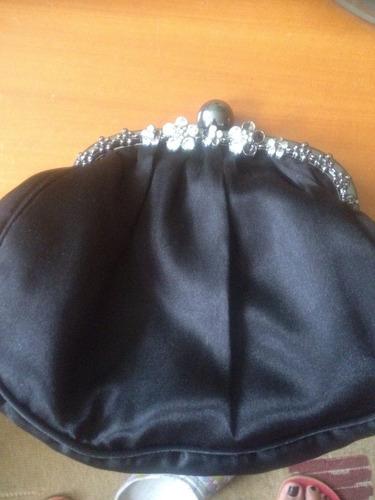 bolso o cartera de mano para fiesta negro con piedreria