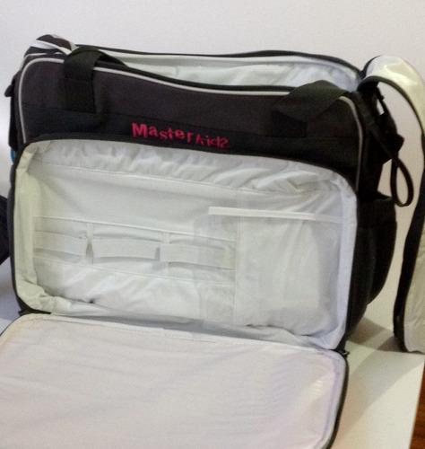 bolso pañalera compartimentos importada cambiador fucsia