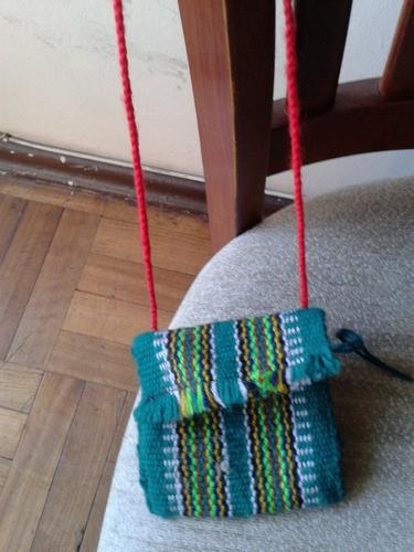 bolso pequeño colores tejido lana hippie hecho a mano
