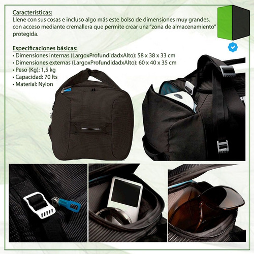 bolso premium thule crossover tcdb-1 70 litros impermeable