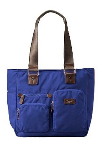 bolso sumdex netbook tablet 10.2  nylon y cuero azul