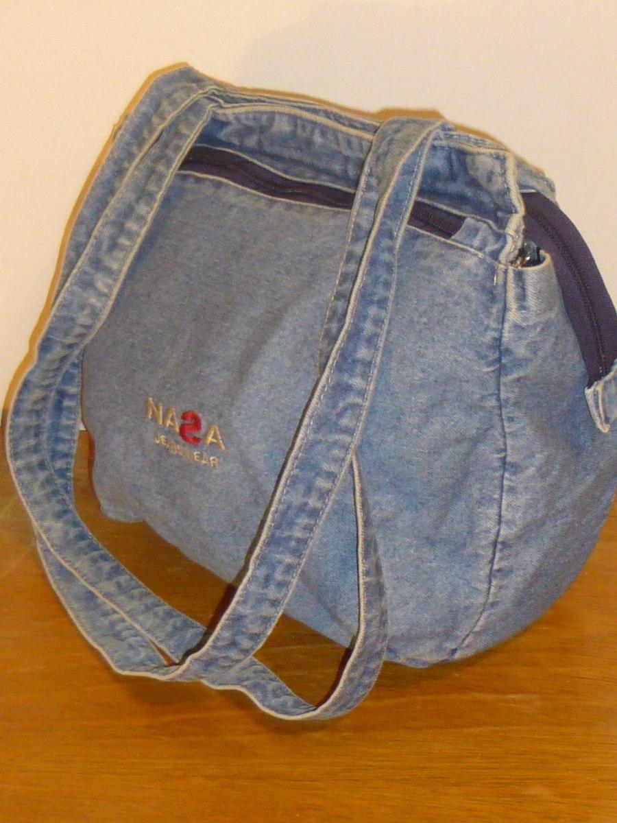 008d39a75 Bolso Tela Jean,marca Nasa,color Azul,bolsillo,como Nuevo - $ 292,06 ...