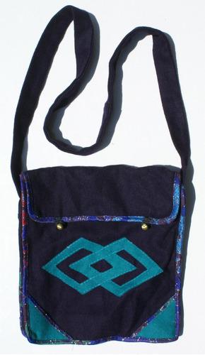 bolso tibetano hecho a mano color oscuro, ornamento etnico