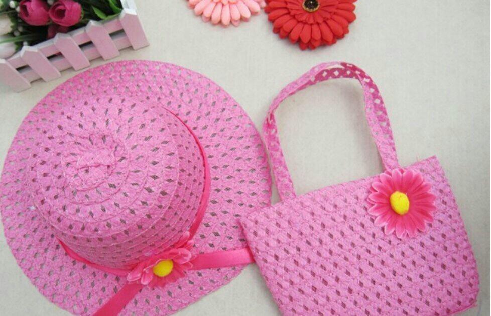 40741adc1b82d bolso y sombrero de paja para niña verano sol. Cargando zoom.
