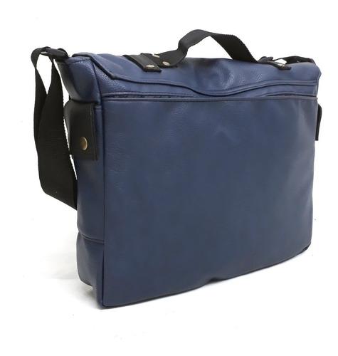 bolsos morrales ecocuero azul con negro tamaño oficio