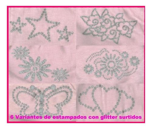 bomb. cola less alg/lyc rosa c/estamp glitter.caja x 12 un.