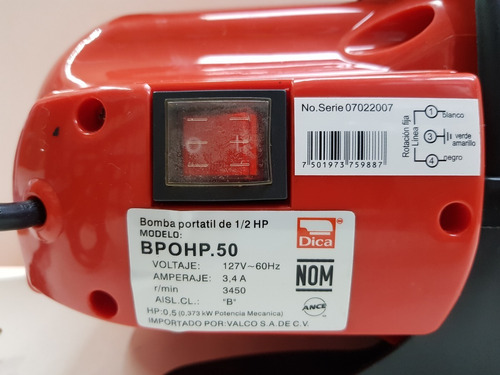 bomba agua 0.50 1/2 h.p. 50 l/min  30 m/alt 127 v 3.4 a dica