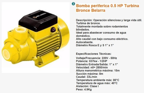 bomba agua 1/2 hp periferica centrifuga belarra tanque