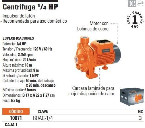 Bomba Agua Centrifuga 1  4 Hp Truper 10071
