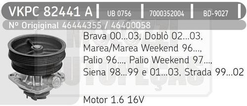 bomba agua fiat palio/siena/strada/doblo/marea/brava 1.6 16v
