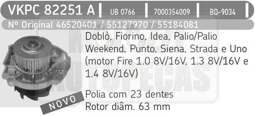 bomba agua fiat uno/palio/siena/strada/doblo 1.0/1.3/1.4 8/1