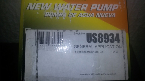 bomba agua ford fiesta 1.3 año 98-00 marca usmw  usa
