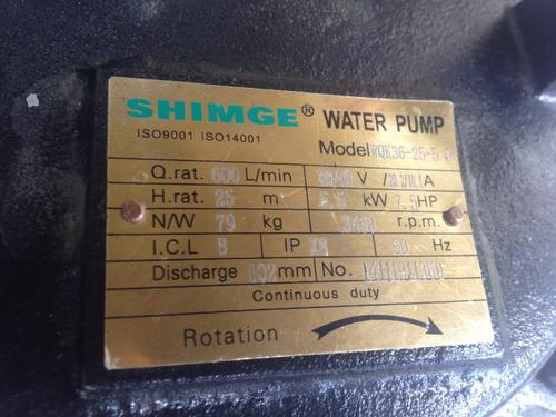 bomba aguas negras shimge 7,5 hp, 220-440 vlts, trifasica .