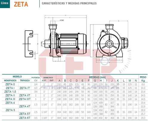 bomba centrifuga czerweny zeta 3 monofasica 1 hp eleva agua