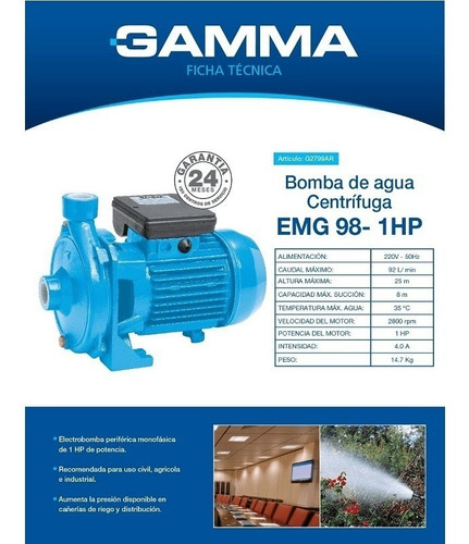 bomba centrifuga gamma g2799ar emg 98 1hp 25mts selectogar