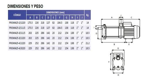 bomba centrifuga multietapas horizontal 1.5 hp 220v espa