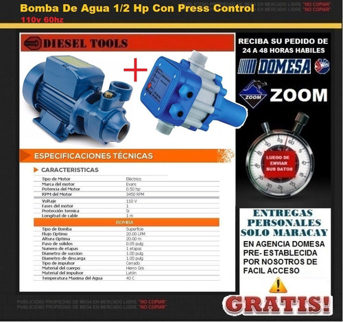 bomba de agua 1/2 hp con press control 110v 60hz