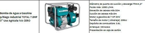 bomba de agua a gasolina p/riego industrial total 7.0hp 3''