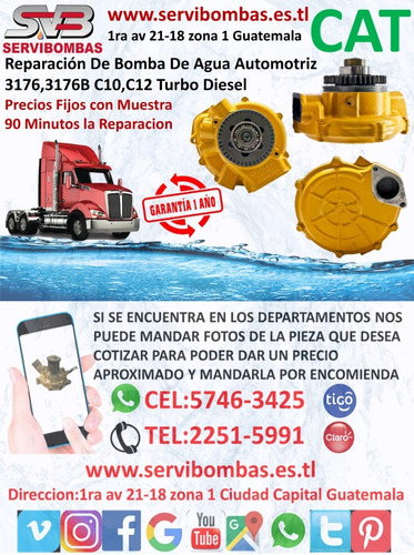 bomba de agua automotriz caterpillar c7,c9 turbo diesel guat