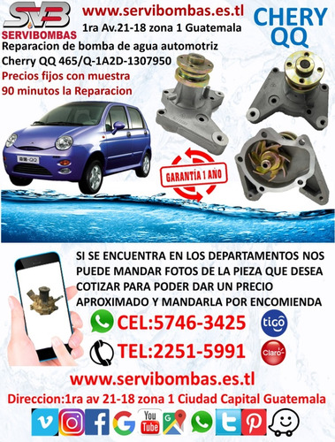 bomba de agua automotriz chery qq 1.0 308 guatemala