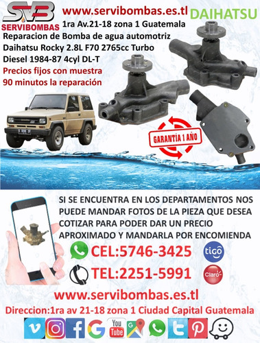 bomba de agua automotriz daihatsu terios 1.3 guatemala
