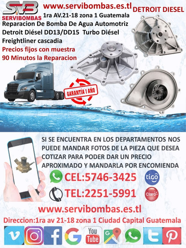 bomba de agua automotriz detroit 12v92,16v71,16v92 guatem