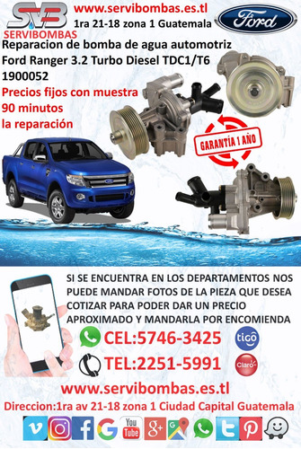 bomba de agua automotriz ford ranger 3.2  xls turbo diesel t