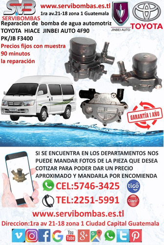 bomba de agua automotriz jinbei 4f90 guatemala