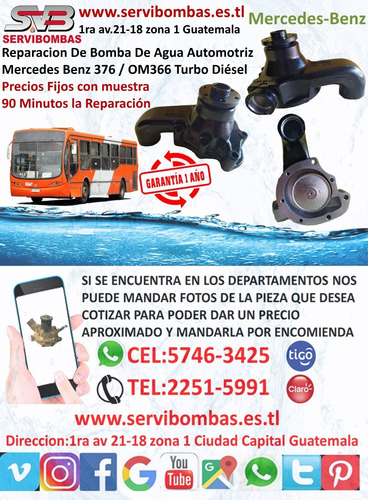 bomba de agua automotriz  mercedes benz 366 l6 turbo guatema
