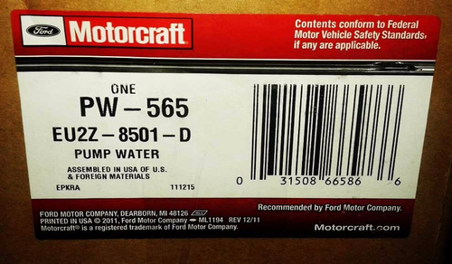 bomba de agua ford fusion escape 2007-2009 motorcraft