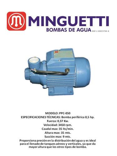 bomba de agua periférica 1/2 hp minguetti