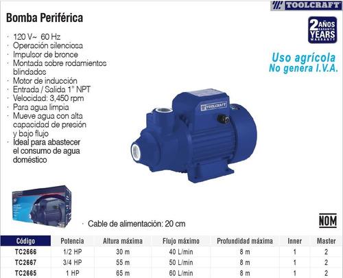bomba de agua periférica 1hp toolcraft tc2665
