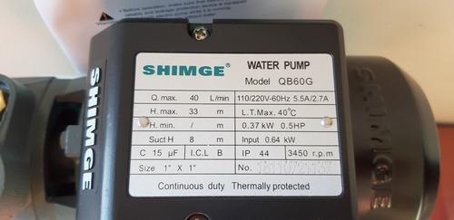 bomba de agua periferica shimge 1/2 hp qb60c