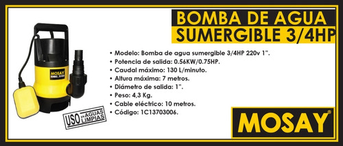 bomba de agua sumergible 3/4 hp 1'' mosay, ferreonline cl