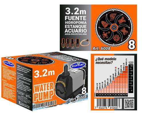 bomba de agua sumergible acuarios fuentes 3.20 m 6008