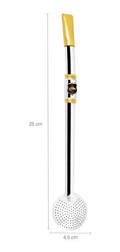 bomba de chimarrão tererê 25cm aço inox ouro 18k inteira