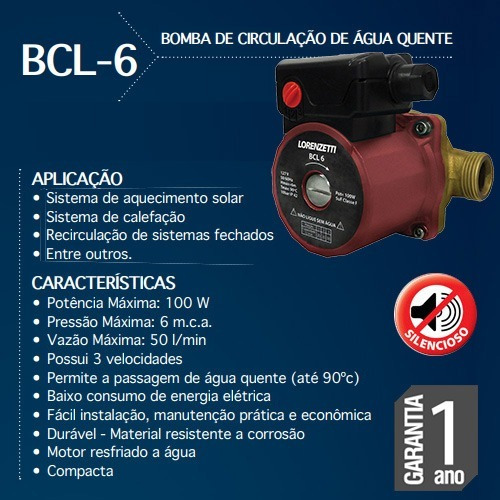 bomba de circulação de aguá quente bcl lorenzetti boiler
