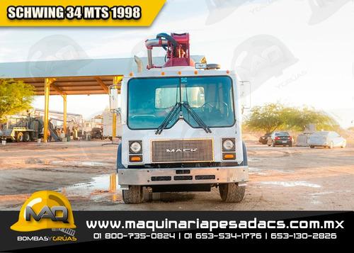 bomba de concreto 34xl mts mack / schwing 1998, revolvedora