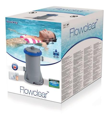 bomba de filtro flowclear 2.006 litros/hora, bestway piscina