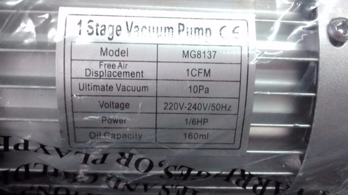 bomba de vacio 1 etapa 30 lts 1/6 hp   actecmax