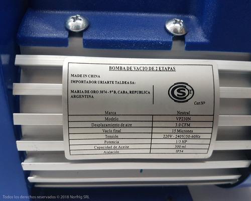 bomba de vacio 70l 2 etapas refrigeracion aire acondicionado