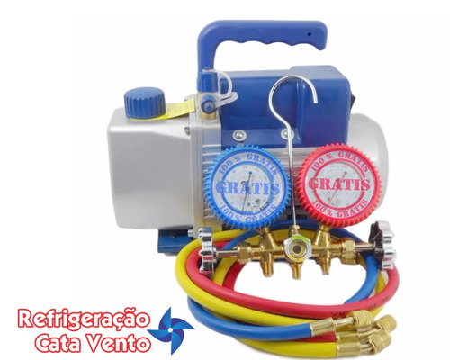 bomba de vacuo 5 cfm bivolt + grátis manifold r12/r22/r502